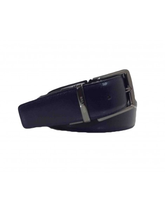 Cinturon de Piel Bellido Reversible Negro y Azul Marino