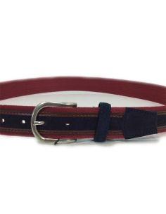 Cinturon de Lona y Piel serie Sax en Burdeos y Azul