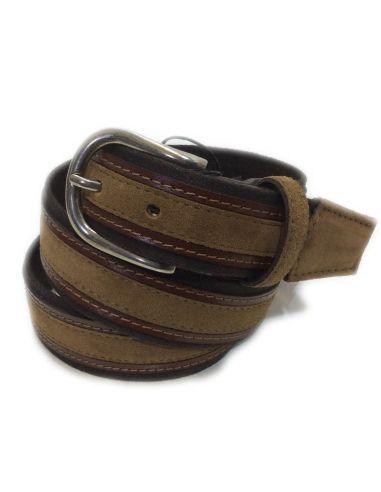 Cinturon de Lona y Piel serie Sax en Marron y Cuero