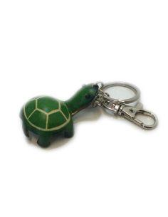 LLavero de Piel Artesanal Animal Tortuga Verde