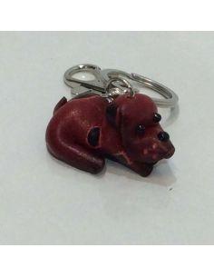 Llavero de Piel Artesanal Animales Bulldog Rojo