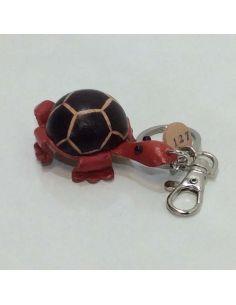 Llavero de Piel Artesanal Animal Tortuga Rojo con Negro