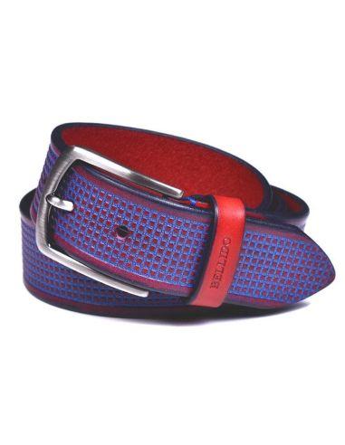 Cinturon de Piel Grabada Bellido Color Rojo Combinado con Azul
