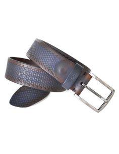 Cinturon de Bellido en Cuero Grabado atornasolado Azul
