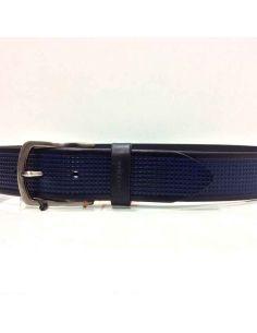 Cinturon de Piel Grabada Bellido en color Azul