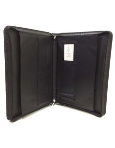 Carpeta con cremallera Portadocumentos de Piel JL Negra
