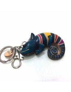 Llavero De Piel Artesanal Animal Camaleon Azul