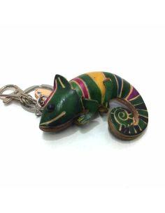 Llavero De Piel Artesanal Animal Camaleon Verde
