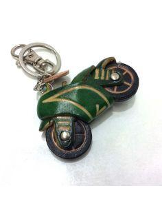 Llavero de Piel Artesanal Vehiculos Moto Carretera Verde