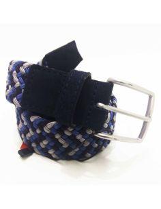 Cinturon Trenzado y rematado en Piel Dalvi tonos Azules