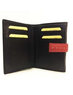 Billetera con Monedero de JL Piel Nismo en Negro con Rojo