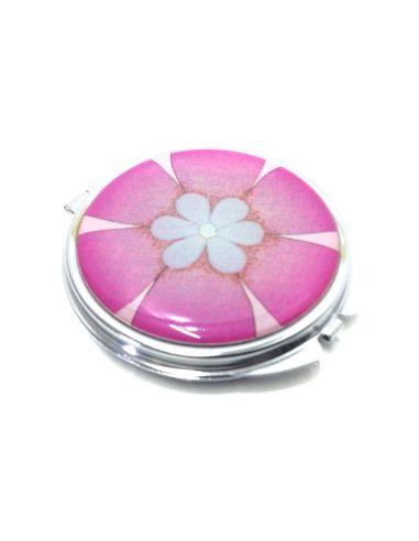 Pastillero Redondo con Flor color Rosa