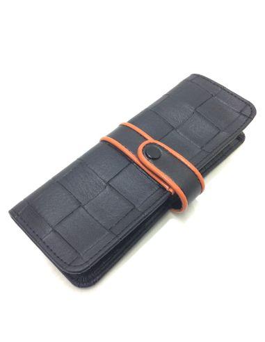 Funda para Bolígrafos de Polipiel en color Negro con Naranja