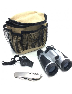 Bolsa Multiuso explorador con prismaticos navaja y brújula silbato