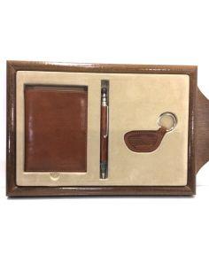 Conjunto de Billetera Bolígrafo y Llavero de Piel