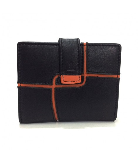 Monedero Billetero Mini de JL Piel Ondas en color Negro y Naranja