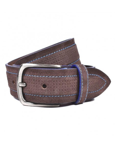 Cinturon en Piel para Hombre Bellido en Marron pespunte Azul
