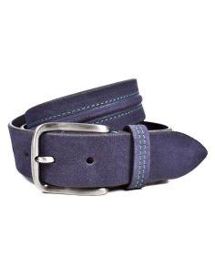 Cinturon de Piel para Hombre Bellido Azul pespuente Verde