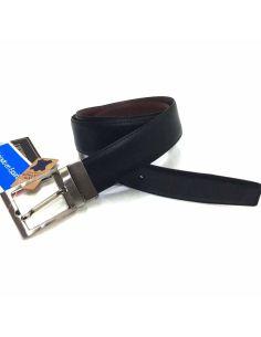 Cinturon de Piel para Hombre Clasico Reversible Negro con Cuero