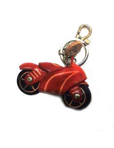 Llavero de Piel Artesanal Vehiculos Moto Carretera Roja