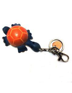 Llavero de Piel Artesanal Animal Tortuga Azul con Naranja