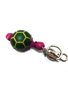 Llavero de Piel Artesanal Animal Tortuga Verde con Fucsia
