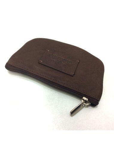Monedero mini con cremallera de Piel Charro Asia Marron