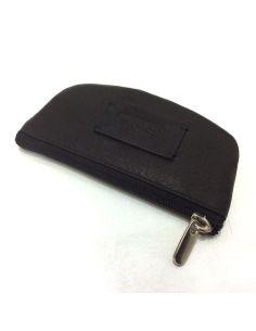 Monedero mini con cremallera de Piel Charro Asia negro