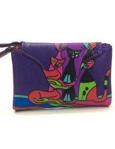 Monedero Billetero con Gatos en Mediano color Morado