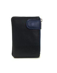 Monedero de Cremallera y Solapa Piel JL Negro con Azul