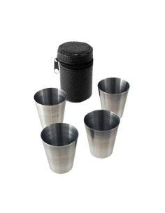 Estuche con cuatro Vasos tipo Chupito Metálicos