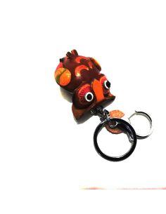 Llavero de Piel Artesanal Animal Buho color Rojo