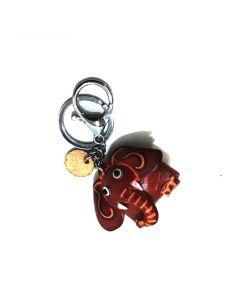 Llavero de Piel Artesanal Animal Elefante Rojo