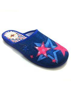 Zapatillas casa Mujer con Estrellas Plana en color Azul