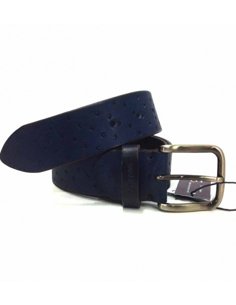 Cinturon de Cuero Azul Marino grabado Rombos