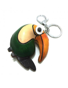 Llavero de Piel Artesanal Animal Papagayo color Verde