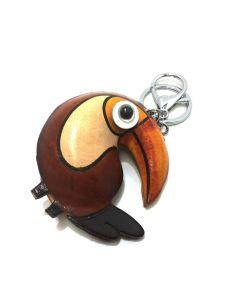 Llavero de Piel Artesanal Animal Papagayo color Cuero