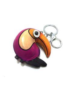 Llavero de Piel Artesanal Animal Papagayo color Fucsia