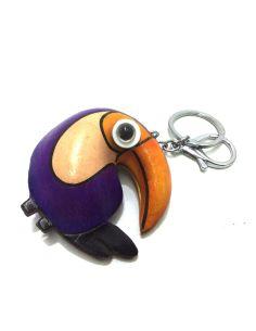 Llavero de Piel Artesanal Animal Papagayo color Morado