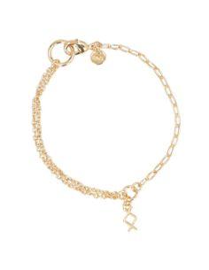 Pulsera dorada de Anekke con dos cadenas y detalle Runa