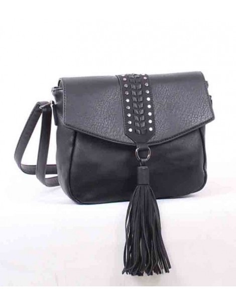 Bolso de Mujer con solapa borlon y tachas negro