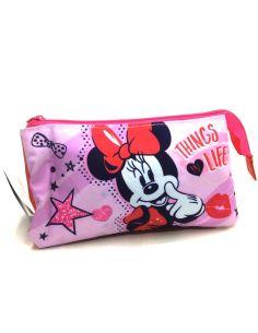 Estuche con tres apartados de Minnie Disney