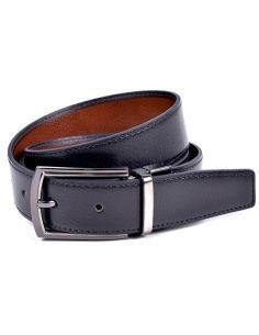 Cinturon Reversible Piel Negro cuero contraste Bellido