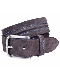 Cinturon Piel para Hombre Marron pespuente Azul Bellido