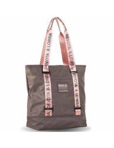 Bolso Shopping Devota y Lomba Rubber en Marron con Rosa
