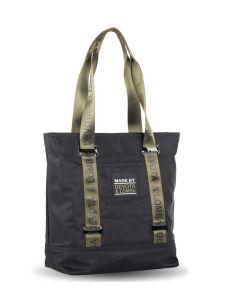 Bolso Shopping Devota y Lomba Rubber en negro con kaki