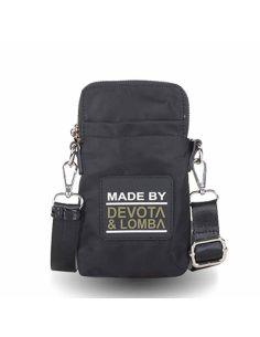 Bolso porta movil Devota y Lomba Rubber en negro con kaki