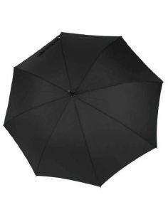 Paraguas Largo Automatico Puño Piel Negro